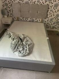 Double Divan Base with Headboard and Crushed Velvet Bed Wrap.