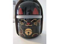 Cat Bento Box for use as a Lunch Box or for Food Storage BIG KOKESHI BENTO MANEKI-NEKO BLACK NEW