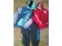 Boys age 13 bundle, 2 hoodies - one with fake mohawk, and 1 joggers