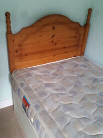 Single pine headboard, single mattress and bed frame for quick sale due to moving house