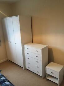 3 Piece Bedroom set. Wardrobe, chest and bedside table.