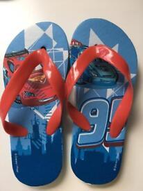 Size 9-10 Boys Cars Flip flops New
