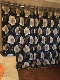 NEXT CREAM/BLACK FULL LENGTH CURTAINS