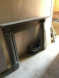 Solid oak wood fire surround plus marble stone hearth - £50