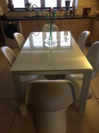 Modern White glass top Dining table & 6 chairs