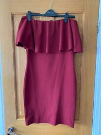 Red quiz off the shoulder bodycon dress size 12