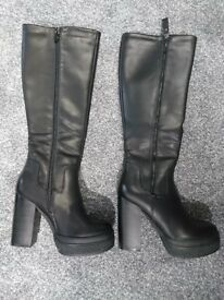 New Zip Side Faux Leather Knee High Boots size 4