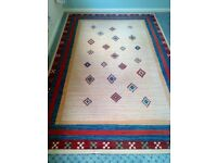 Rug 200 cm x 290 cm - Cream with Red and Blue Border
