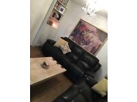 Black Reclining Leather 3 Seater Sofa and Chair Set