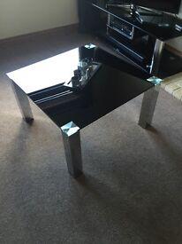 Black glass, chrome legs table. 80cm square x 45cm height.