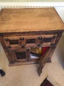 Solid wood pair of unusual cabinets