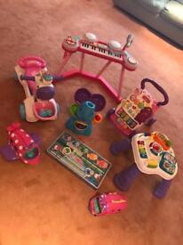 Toy bundle 9 items including mini trampoline