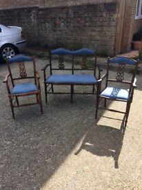 Edwardian Love Seat & Two Matching Chairs.