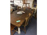 7ft solid oak dining table