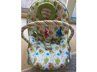 Baby bouncer and rocker with vibration mode