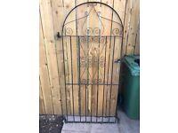 Hinged metal garden gate black steel