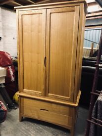 Two draw oak wardrobe