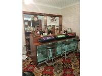 Vintage Bar, with display case, stools, armwrests, taps and storage.