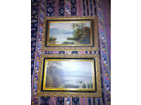 Pair of Oil Paintings on Wood Panels Signed