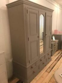 Large Painted Pine Wardrobe