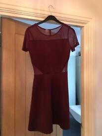 Burgundy Skater Dress with mesh inserts