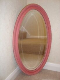 Shabby Chic ornate vintage wooden oval mirror painted in Annie Sloan pink