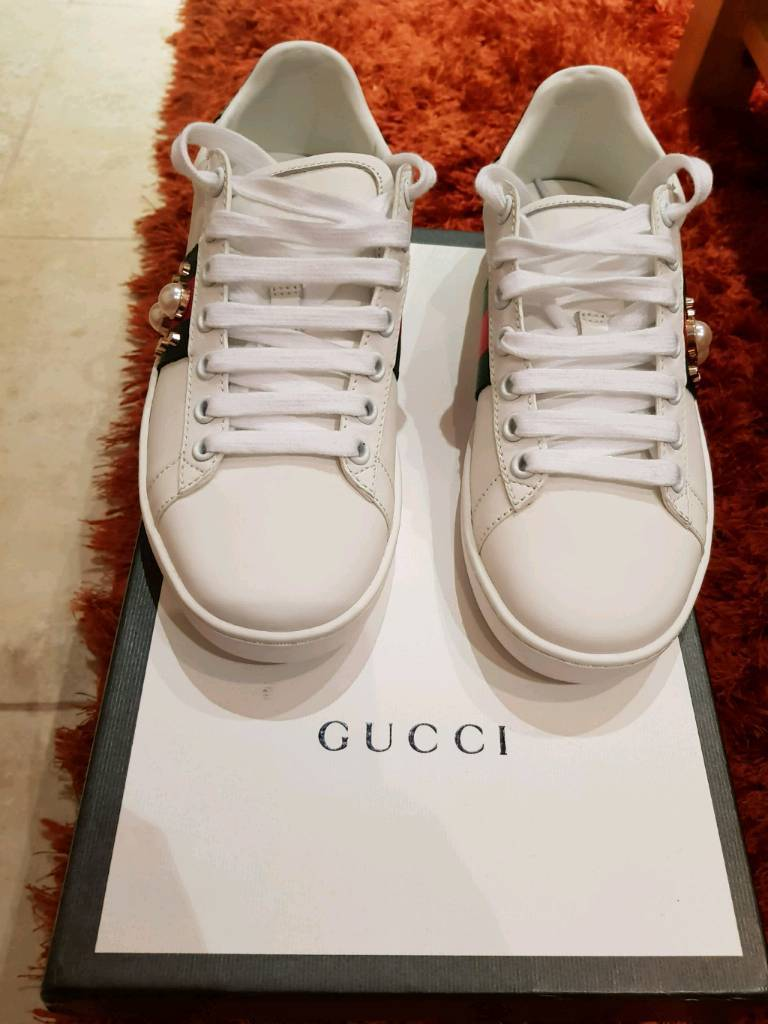 92faca032daf0 Gucci Ace studded pearl size 4 Uk