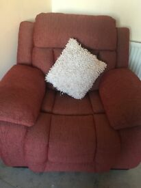 Red fabric armchair and sofa suite
