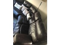 Sofa - 7 seats, Brown leather, corner/curve