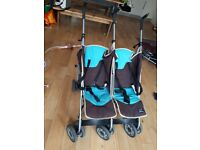 Lightweight double buggy umbrella fold