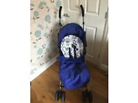 MAMAS & PAPAS SWIRL STROLLER PRAM IN BLUE WITH FOOTMUFF, PARASOL, SHOPPING BASKET AND RAINCOVER
