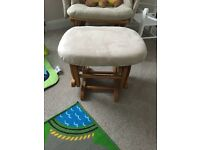 Rocking/Nursing cream chair and foot stool