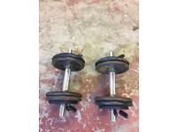 Weight training dumbells cast iron weights