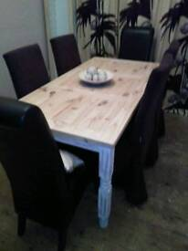 LARGE CHUNKY STRIPPED PINE DINING TABLE WITH SIX SKIRTED DINING CHAIRS