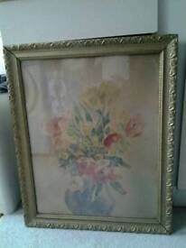 Framed hand painted picture - Flowers