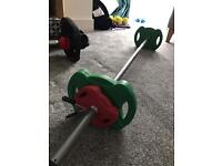 Fitness weight set with bar bell and dumbbells