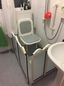 Shower seat, screen and curtain