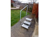 caravan steps with hand rail low tread heights suit less mobil