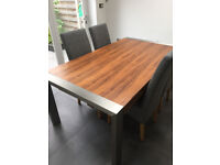 Extendable Oak and Brushed Metal Dining Table
