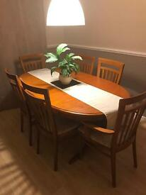 Stag Extending Dining Room Table with 6 Chairs