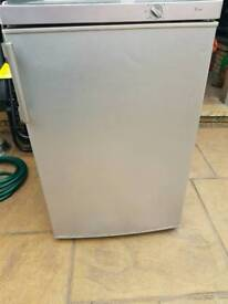 Undercounter fridge with small freezer in silver