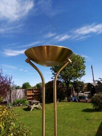 Tall , gold coloured , dimmable 2 light floor lamp