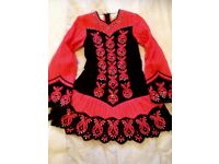 I rish Dancing solo costume in black velvet and bright salmon embroidery to fit solo dancer aged 14+