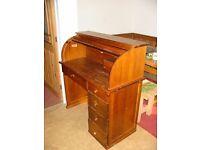 Roll top pine desk