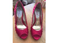 Hot Pink Peep toe shoes