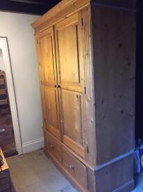Solid pine large two door robe