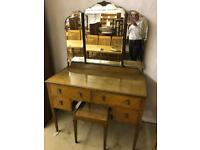 Solid Oak dressing table and stool