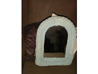 Vintage blue painted arched wicker wall mirror