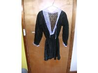 Maid costume with apron, head piece & fishnets, unused, ideal for fancy dress.