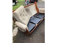 G Plan sofa, chair and stool.